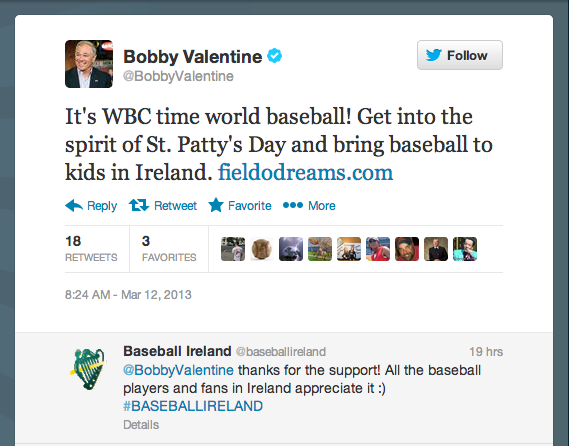 Bobby Valentine Tweets About Our Field O' Dreams Fundraiser!