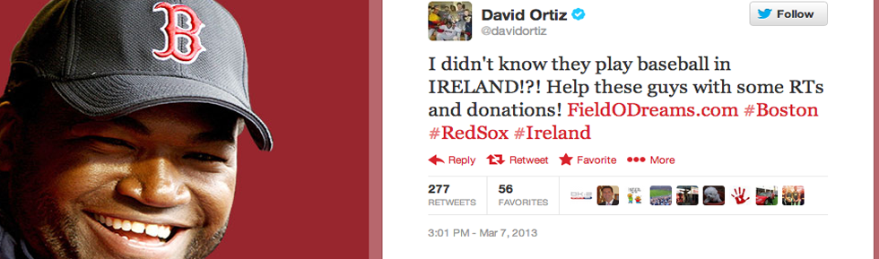 David Ortiz Tweets About Baseball in Ireland!