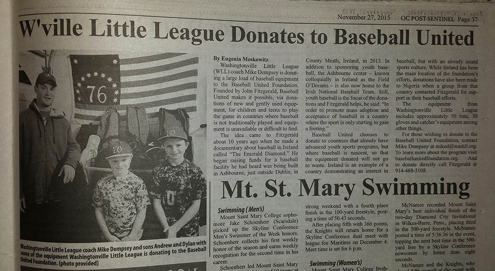 Washingtonville, NY Little Leaguers Donate Equipment to The Baseball United Foundation!