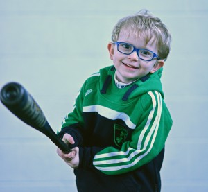 A Little League player at our clinic in Dublin, Ireland (January 2014)